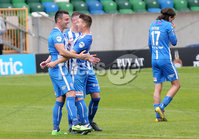 Press Eye - Belfast - Northern Ireland - 27th July 2020 - . Ballymena United FC v Coleraine FC Sadler\'s Peaky Blinder Irish Cup Semi Final at the National Football Stadium at Windsor Park.. Coleraines Eoin Bradley(left) celebrates after scoring to make it 0-1. . Photo by Jonathan Porter Press Eye.