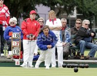 Northern Ireland- 18th June 2012 Mandatory Credit - Photo-Jonathan Porter/Presseye.  Bowls - Ladies British Isles Fours Final at Ward Park in Bangor Co. Down.  England vs Wales(red).  England\'s Tracie Dent bowls.