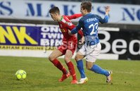Danske Bank Premiership, Mourneview Park, Lurgan, Co. Armagh 13/1/2018. Glenavon vs Cliftonville. Glenavon\'s Joel Cooper with Jay Donnelly. of Cliftonville. Mandatory Credit ©INPHO/Declan Roughan