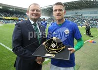 PressEye-Northern Ireland- 8th September  2018-Picture by Brian Little/ PressEye. IFA President David Martin presents Northern Ireland Captain Steven Davis with his 100th cap before the match against  Bosnia and Herzegovina during  Saturday\'s  UEFA Nations League match at the National Football Stadium at Windsor Park.. Picture by Brian Little/PressEye .