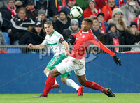 Press Eye - Belfast -  Northern Ireland - 12th November 2017 - Photo by William Cherry/Presseye. Northern Ireland\'s Jamie Ward with Switzerland\'s Manuel Akanji during Sunday nights World Cup Play Off 2nd leg game at St. Jakob-Park, Basel.