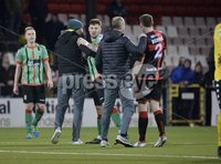 Danske Bank Premiership, Seaview Belfast.. Co Antrim 02/12/17. Crusaders v Glentoran. Mandatory Credit ©INPHO/Stephen Hamilton. Tempers flatre between Crusaders  and Glentoran players at the end of todays game