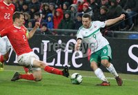 PressEye-Northern Ireland- 12th November  2017-Picture by Brian Little/ PressEye. Switzerland  Stephen Lichtsteiner  and Northern Ireland Conor Washington     during Sunday night\'s FIFA  World Cup play-off  second leg match at St Jacob Park, Basel.. Picture by Brian Little/PressEye