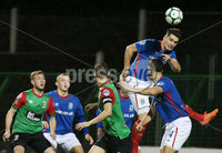 Danske Bank Premiership, The Oval, Belfast 8/10/2018. Glentoran vs Linfield. Linfield\'s Jimmy Callacher clears the ball from his box. . Mandatory Credit INPHO/Jonathan Porter