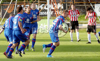 Airtricity League Premier Division, The Brandywell 13/7/2012. Derry City vs Sligo Rovers. Sligo\'s David Cawley celebrates scoring the opening goal. Mandatory Credit ©INPHO/Margaret McLaughlin