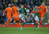 PressEye-Northern Ireland- 16th November 2019-Picture by Brian Little/PressEye. Northern Ireland Steven Davis   and Netherlands  Donny van de Beer  during Saturday\'s EURO 2020 Qualifier at the National Football Stadium at Windsor Park.. Picture by Brian Little/PressEye