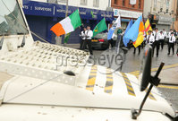 Press Eye - Belfast - Northern Ireland - 5th October 2019. Newry Republican Commemoration Committee parade through the town to Raymond McCreesh park to commemorate the hunger striker.  IRA volunteer Raymond McCreesh died in May 1981 as part of the Republican hunger strikes which seen 10 men die in the Maze prison.  A children\'s playpark in Newry was recently named after him. . The parade makes its way through the town. . Picture by Jonathan Porter/PressEye