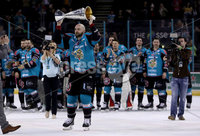 Press Eye - Belfast -  Northern Ireland - 06th April 2019 - Photo by William Cherry/Presseye. Belfast Giants\' Colin Shields pictured with the Elite Ice Hockey League trophy after being crowned Champions at the SSE Arena, Belfast.       Photo by William Cherry/Presseye