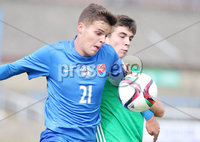 Press Eye Belfast - Northern Ireland 7th September 2018. U19 International Challenge Match - Northern Ireland Vs Slovakia at The Showgrounds, Newry.. Northern Ireland\'s Cameron Palmer with Slovakia\'s Tomas Svecula .. Picture by Jonathan Porter/PressEye.com