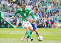Press Eye Belfast - Northern Ireland 8th September 2018. UEFA Nations League 2019 Final Tournament at the National Stadium at Windsor Park.  Northern Ireland Vs Bosnia and Herzegovina. . Northern Ireland\'s Steven Davis with Bosnia and Herzegovina\'s Gojko Cimirot   . Picture by Jonathan Porter/PressEye.com
