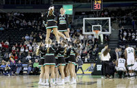 Press Eye - Belfast -  Northern Ireland - 01st December 2017 - Photo by William Cherry/Presseye. Manhattan College cheerleaders during Friday afternoons Basketball Hall of Fame Belfast Classic game at the SSE Arena, Belfast.