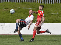 Press Eye Belfast - Northern Ireland 12th August 2017. Danske Bank Irish Premier league match between Cliftonville and Ards at Solitude Belfast.. Cliftonville\'s Jay Donnelly  in action with Ards Nathan Hanley.  Photo by Stephen  Hamilton / Press Eye