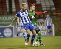 . Bet McLean League Cup Round 3, The Oval, Belfast 30/10/2018. Glentoran vs Coleraine. Glentorans Robbie McDaid  in action with Coleraines Gareth McConaghie. Mandatory Credit INPHO/Stephen Hamilton.