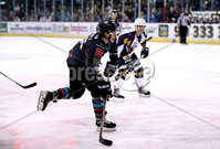 Press Eye - Belfast, Northern Ireland - 04th October 2019 - Photo by William Cherry/Presseye. Belfast Giants\' Patryk Wronka  with Guildford Flames\' Jesse Craige during Friday nights EIHL game at the SSE Arena, Belfast.   Photo by William Cherry/Presseye