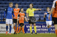 Danske Bank Premiership, Mourneview Park, Armagh 8/9/2017. Glenavon vs Carrick Rangers . Referee Keith Kennedy awards a penalty after a foul on Glenavon\'s Jordan Jenkins. Mandatory Credit ©INPHO/Stephen Hamilton