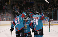 5 January 18, Mandatory Credit ©Press Eye/Darren Kidd.  . Goal for Belfast Giants Steve Saviano against Sheffield Steelers at Friday nights Elite League game at the SSE Arena, Belfast.