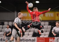 3/12/2019. Bet McLean league cup semi final between Crusaders and Institute at Seaview.. Crusaders  David Cushley in action with Institutes Graham Crown. Mandatory Credit Inpho/Stephen Hamilton