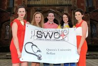 Presseye Ltd Northern Ireland 15th Feb 2012. Mandatory Credit - Photograph by Declan Roughan / Presseye. QUB Students Charity Fund Raising Fashion Show Launch - 15 Feb 2012. (L-R) Micheala O\'Neill, Emma Sproule, Gilbert Rice, Emma O\'Kane and Sinead McNally