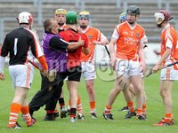 Ulster GAA Minor Hurling Championship Semi Final - Armagh V Down - 1 July 2012. Copyright Presseye.com. Mandatory Credit Declan Roughan / Presseye. Scuffles break out during the Armagh and Down game