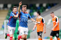 Press Eye - Belfast -  Northern Ireland - 12th August 2017 - Photo by William Cherry/Presseye. Linfield\'s Niall Quinn celebrates scoring against Carrick during Saturdays Danske Bank Premiership game at the National Stadium at Windsor Park, Belfast.