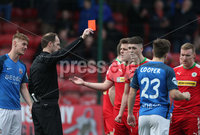 Danske Bank Premiership, Solitude, Belfast 14/4/2018 . Clliftonville vs Glenavon. Clliftonville\'s Jaimie. McGovern receives a straight red card . Mandatory Credit ©INPHO/Matt Mackey
