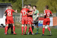 12th May 2018. Europa league play off final between Cliftonville and Glentoran at Solitude in Belfast.. Cliftonville\'s players celebrate at the final whistle. Mandatory Credit: Inpho/Stephen Hamilton