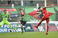 4th August 2018. Danske Bank Irish premier league match between Glentoran and Cliftonville at The Oval in Belfast..  Cliftonvilles Jay Donnelly  scores his sides winning goal in a 2-1 win.  Mandatory Credit: Stephen Hamilton /Inpho