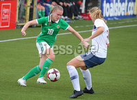 Press Eye - Belfast - Northern Ireland - 8th October 2019. European Women\'s U19 Championship 2020 Qualifying Round -  Northern Ireland Vs Norway, Seaview. Northern Ireland\'s Casey Howe with Norway\'s Mathilde Hauge Harviken.. Picture by Jonathan Porter/PressEye