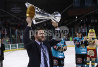 Press Eye - Belfast -  Northern Ireland - 06th April 2019 - Photo by William Cherry/Presseye. Belfast Giants head coach Adam Keefe pictured with the Elite Ice Hockey League trophy after being crowned Champions at the SSE Arena, Belfast.       Photo by William Cherry/Presseye