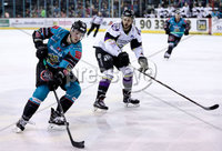 Press Eye - Belfast -  Northern Ireland - 03rd March 2019 - Photo by William Cherry/Presseye. Belfast Giants\' Curtis Leonard with Manchester Storm\'s Felix-Antoine Poulin during Sunday afternoons Elite Ice Hockey League game at the SSE Arena, Belfast.