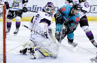 Press Eye - Belfast -  Northern Ireland - 03rd March 2019 - Photo by William Cherry/Presseye. Belfast Giants\' Curtis Leonard with Manchester Storm\'s Matt McGinn during Sunday afternoons Elite Ice Hockey League game at the SSE Arena, Belfast.