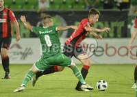 Wednesday 11th July 2018. UEFA Champions League First Qualifying Round First Leg between PFC Ludogorets Razgrad and Crusaders FC .. Ludogorets Lucas Pacheco Affini Sasha in action with Crusaders Jordan Forsythe . Mandatory Credit: Inpho/Stephen Hamilton