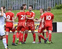 Press Eye - Belfast - Northern Ireland -15th July. Photo by Stephen Hamilton  / Press Eye.. Pre season friendly match between Cliftonville and Swansea u23 at Solitude in Belfast.. Cliftonvilles Garry Breen celebrates after he  heads his side into a 2-1 lead