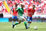 Press Eye - Belfast -  Northern Ireland - 03rd June 2018 - Photo by William Cherry/Presseye. Costa Rica\'s Ceslo Borges with Northern Ireland\'s Liam Boyce during Sunday mornings International Friendly at the Nuevo Estadio Nacional de Costa Rica in San Jose.   Photo by William Cherry/Presseye