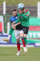 Danske Bank Premiership, The Oval, Belfast, Northern Ireland. 1/5/2021. Glentoran vs Linfield FC . Glentoran Robbie McDaid and Linfield Jamie Mulgrew  . Mandatory Credit INPHO/Presseye/Brian Little