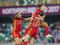 Press Eye Belfast - Northern Ireland 8th August 2017. 2017 UEFA Women\'s Under-19 Championship Final at the National Stadium at Windsor Park, Belfast.  France Vs Spain. Spain\'s Laura Maria Perez(centre) celebrates after they score to make it 2-2. . Picture by Jonathan Porter/PressEye.com.