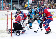 Press Eye - Belfast -  Northern Ireland - 14th September 2018 - Photo by William Cherry/Presseye. Belfast Giants\' Jonathan Ferland with Dundee Stars\' Craig Holland during Friday nights Challenge Cup game at the SSE Arena, Belfast.       Photo by William Cherry/Presseye