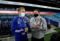 Press Eye - Belfast, Northern Ireland - 13th October 2020 - Photo by William Cherry/Presseye. Northern Ireland\'s Ian Baraclough and George Saville at the Ullevaal Stadium ahead of Wednesdays UEFA Nations League game against Norway in Oslo. Photo by William Cherry/Presseye