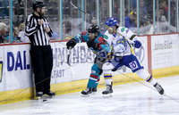Press Eye - Belfast -  Northern Ireland - 09th February 2018 - Photo by William Cherry/Presseye. Belfast Giants David Rutherford with Fife Flyers Liam Heelis during Friday nights Elite Ice Hockey League game at the SSE Arena, Belfast.