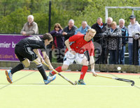 Press Eye - Belfast - Northern Ireland - Sunday 6th May 2012 -  Picture by Kelvin Boyes / Press Eye . Electric Ireland Men\'s Hockey League Final between Lisnagarvey and Dublin YMCA at Lisnagarvey Hockey Club, Hillsborough.. Stuart McNeice of Lisnagarvey and Robert Whelan of Dublin YMCA