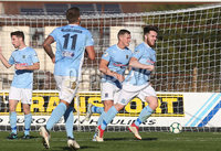Danske Bank Premiership, Ballymena Showgrounds, Co. Antrim 6/10/2018. Ballymena vs Newry City. Ballymena\'s Cathair Friel celebrates scoring a goal. Mandatory Credit INPHO/Matt Mackey