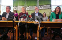 Press Eye Belfast - Northern Ireland 13th November 2017. Sinn Fein hold a press conference at Stormont regarding the ongoing talk to get the Northern Ireland Assembly up-and-running. . Michelle O\'Neill and Gerry Adams pictured at the press conference. . Picture by Jonathan Porter/PressEye.com
