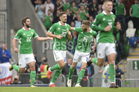 8th August 2018. Northern Ireland v Bosnia & Herzegovina at the national stadium in Belfast.. Northern Ireland\'s Will Grigg celebrates after pulling a goal back .  Mandatory Credit: Stephen Hamilton /Presseye