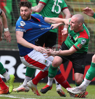 Danske Bank Premiership, The Oval, Belfast, Northern Ireland. 1/5/2021. Glentoran vs Linfield FC . Glentoran Luke McCullough and Linfield Mark Stafford  . Mandatory Credit INPHO/Presseye/Brian Little