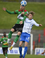 4th May 2021. Danske Bank Irish league,The Oval,Belfast.. Glentoran v Coleraine . Glentorans Robbie McDaid   in action with Coleraines  Lyndon Kane . Mandatory Credit Inpho/Stephen Hamilton