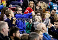 Press Eye - Belfast, Northern Ireland - 30th November 2019 - Photo by William Cherry/Presseye. Fans cheer on their team during Saturday evenings Friendship Four Championship game between Colgate Raiders and Northeastern Huskies at the SSE Arena, Belfast.      Photo by William Cherry/Presseye