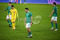 Press Eye - Belfast, Northern Ireland - 18th November 2020 - Photo by William Cherry/Presseye. Northern Ireland\'s Conor McLaughlin at the final whistle after drawing 1-1 with Romania during Wednesday nights UEFA Nations League game at the National Football Stadium at Windsor Park, Belfast. Photo by William Cherry/Presseye