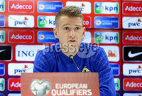 Press Eye - Belfast, Northern Ireland - 09th October 2019 - Photo by William Cherry/Presseye. Northern Ireland captain Steven Davis during Wednesday nights press conference at Stadium Feijenoord ahead of Thursday nights UEFA Euro 2020 Qualifier against Netherlands in Rotterdam. Photo by William Cherry/Presseye