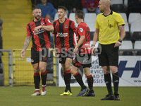 6th August 2018. Danske Bank Irish premier league match between Crusaders and Ards at Seaview.. Crusaders Rory Patterson celebrates after he fires the Crues into a 2-0 lead.  Mandatory Credit: Stephen Hamilton /Inpho