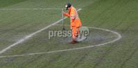 Danske Bank Premiership Play-Off, Mourneview Park, Co. Armagh 3/4/2018 . Glenavon vs Linfield. Mandatory Credit ©INPHO/William Cherry. The groundsman works hard to get the pitch fit for play.